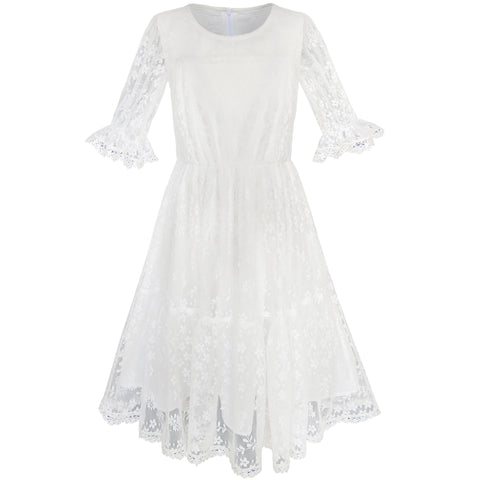 Flower Girls Dress Off White Lace Wedding Pageant Party Size 5-10 Years