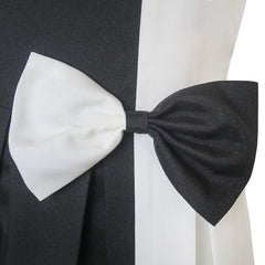 Girls Dress Color Block Contrast White Black Bow Tie Size 4-14 Years