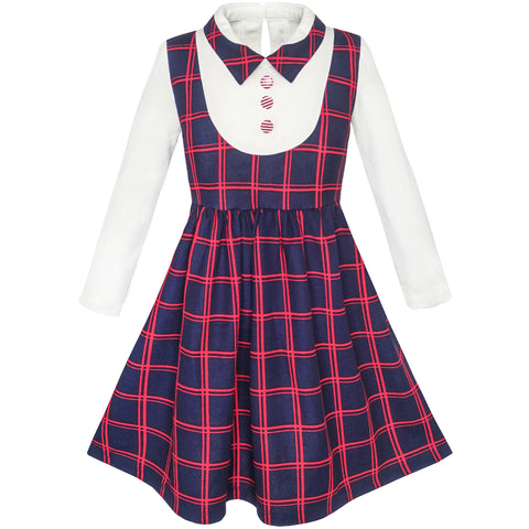Girls Dress 2-in-1 School Checkered Plaid Suspender Skirt Size 5-12 Years