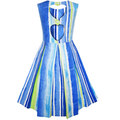 Girls Dress Striped Heart Shape Back Blue Party Size 4-8 Years