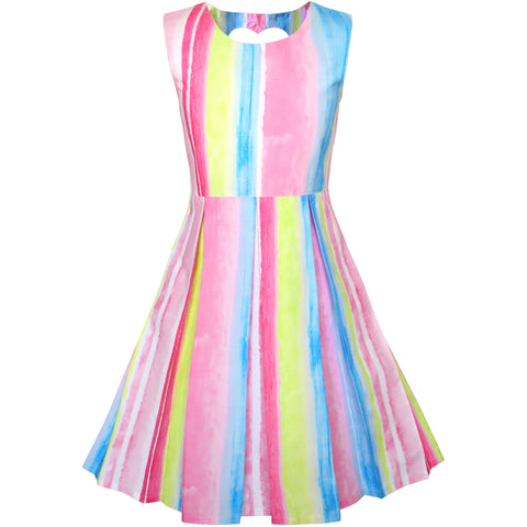 Girls Dress Striped Heart Shape Back Pink Party Size 4-8 Years