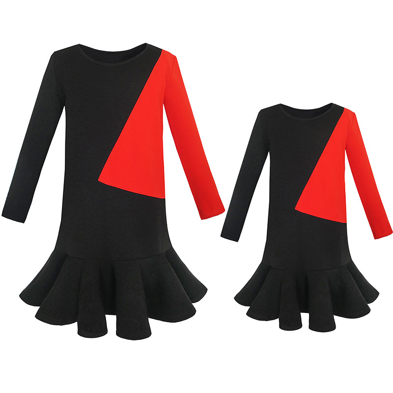 Parent-child Mother Daughter Dress Color Block Contrast Size 5-12 Years