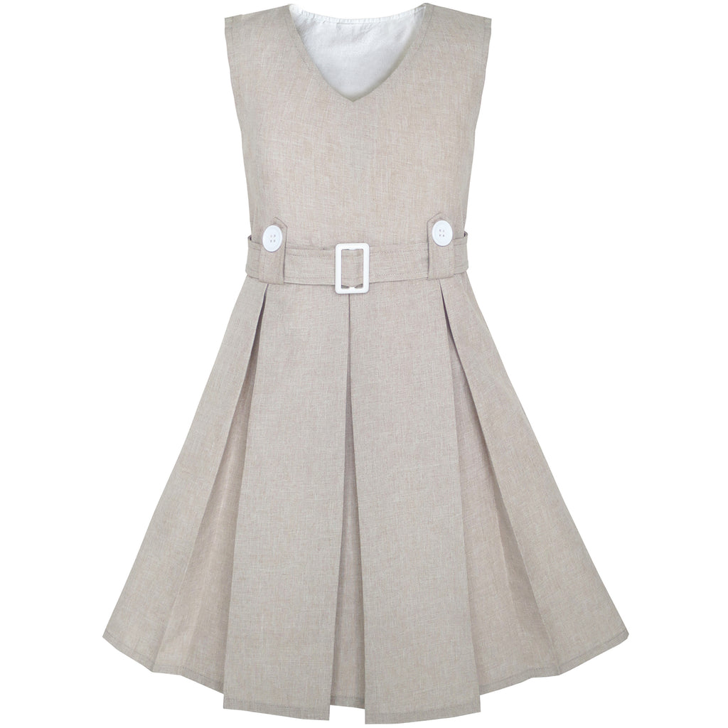 Girls Dress Beige Button Back School Pleated Hem Size 6-14 Years
