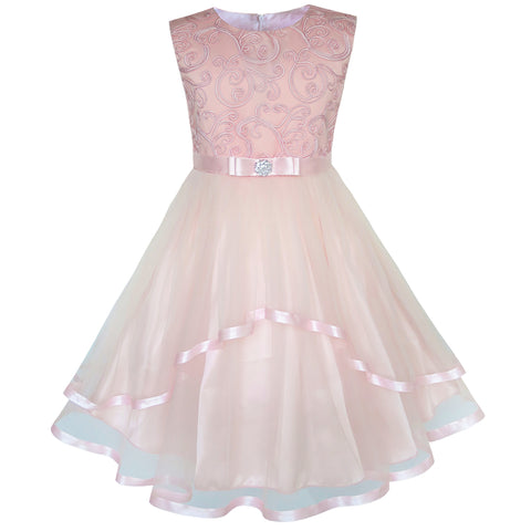 Flower Girls Dress Blush Belted Wedding Party Bridesmaid Size 4-12 Years