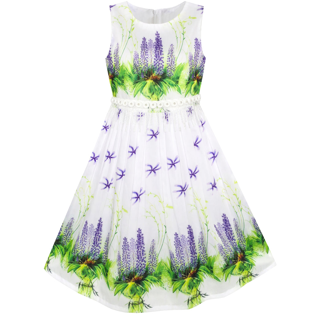 Girls Dress Purple Flower Summer Party Size 6-12 Years