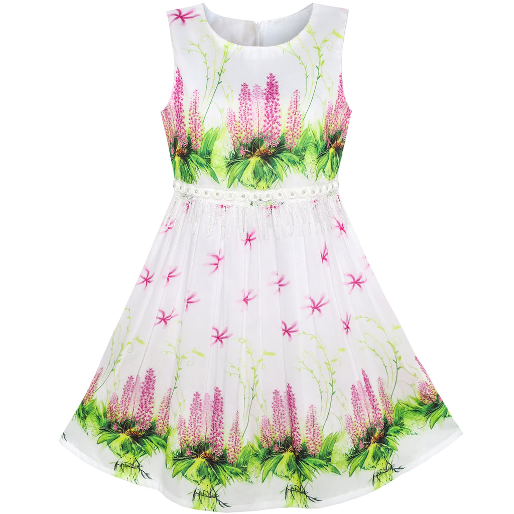 Girls Dress Pink Flower Summer Party Size 6-12 Years