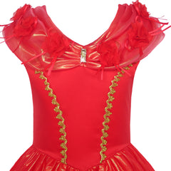 Girls Dress Red Princess Costume Maxi Fancy Wedding Pageant Size 6-12 Years