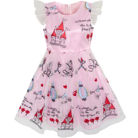 Girls Dress Pink Cartoon Castle Princess Party Tulle Dress Size 4-12 Years