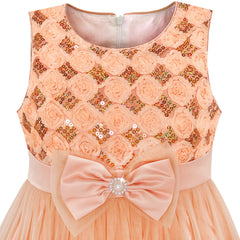 Girls Dress Sequin Sparkling Bow Tie Tulle Party Pageant Size 2-10 Years