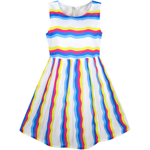 Girls Dress Colorful Striped Party Size 7-14 Years