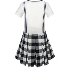 Girls Dress School Black White Check Suspender Skirt Size 4-10 Years
