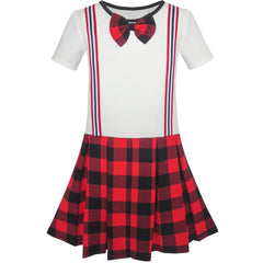 Girls Dress School Red White Check Suspender Skirt Size 4-10 Years