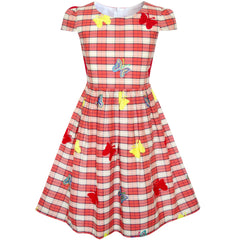 Girls Dress Butterfly Embroidered Red Check School Size 3-8 Years