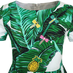 Girls Dress Green Leaf Print Pineapple Dragonfly Size 5-10 Years