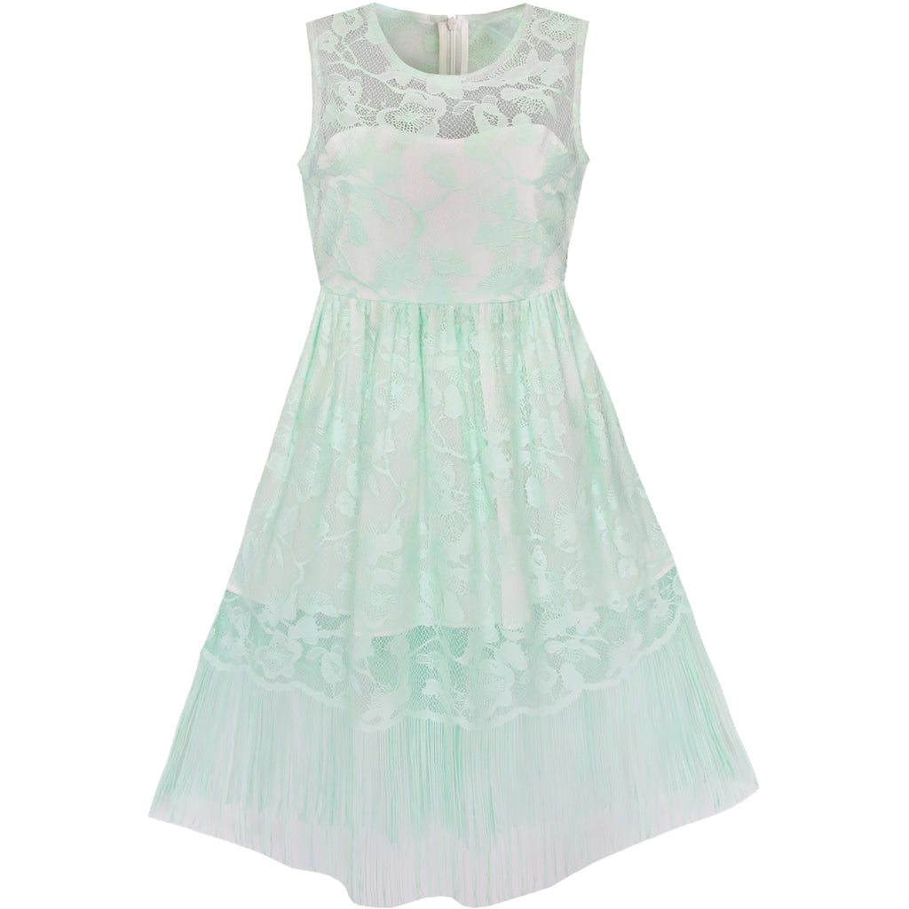 Girls Dress Green Lace Tassel Hem Princess Party – Sunny Fashion
