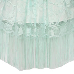 Girls Dress Green Lace Tassel Hem Princess Party Size 6-16 Years