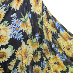 Girls Dress Chiffon Sunflower Ruffle Cold Shoulder Maxi Dress Size 5-12 Years