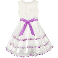 Girls Dress Embroidered Sparkling Bow Tie Tulle Party Pageant Size 4-10 Years