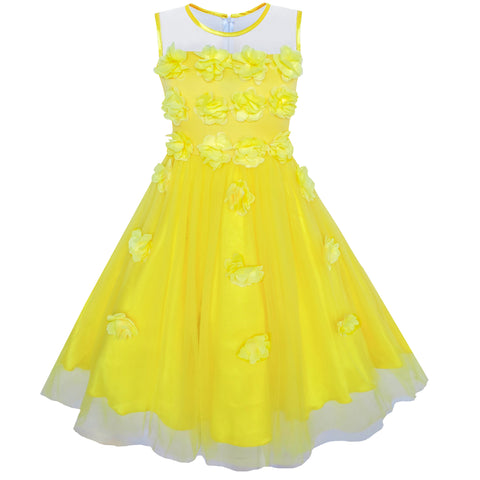 Girls Dress Yellow Dimensional Flower Bridesmaid Wedding Dress Size 5-12 Years