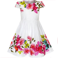 Girls Dress Flower Print Cap Sleeve Summer Size 2-6 Years