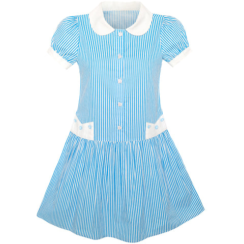 Girls Dress Blue White Stripe Collar School Short Sleeve Size 5-12 Years