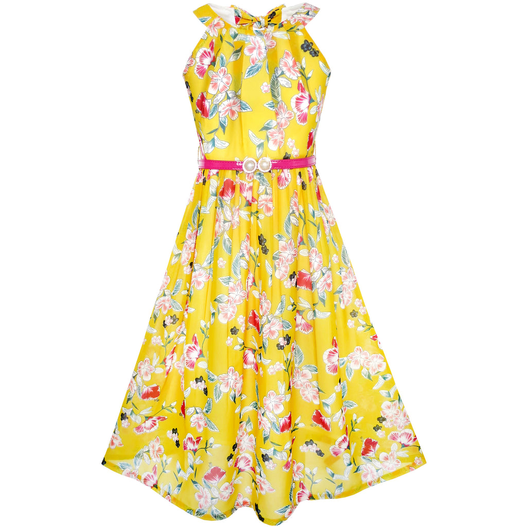 Girls Dress Yellow Floral Red Belt Chiffon Party Maxi Dress Size 6-14 Years