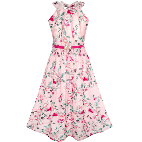 Girls Dress Pink Floral Red Belt Chiffon Maxi Dress Size 6-14 Years