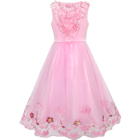 Flower Girls Dress Sequin Dimensional Flowers Pageant Party Size 4-14 Years