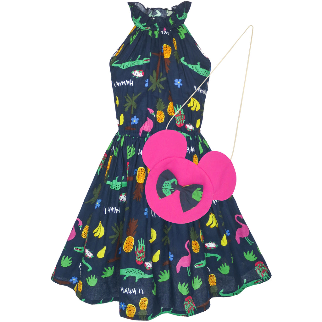 Girls Dress Crocodile Fruits Print Mickey Bag Birthday Party Size 4-8 Years