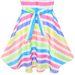 Girls Dress Colorful Stripe Beach Size 6-12 Years
