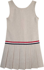 Girls Dress Khaki School Pleated Skirt Dress Size 4-12 Years