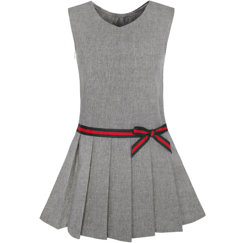 Girls Dress Gray School Pleated Skirt Dress Size 4-12 Years
