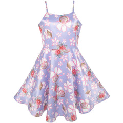 Girls Dress Purple Flower Shell Print Party Dancing Dress Size 4-10 Years