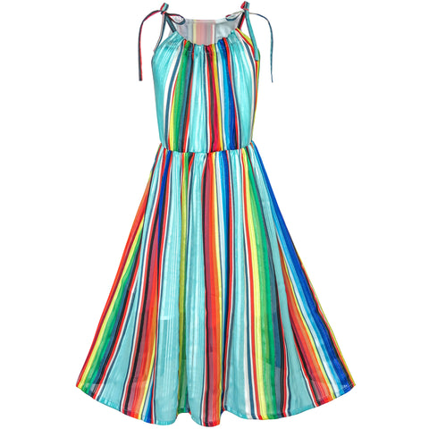 Girls Dress Chiffon Colorful Stripe Sparkling Party Size 7-14 Years
