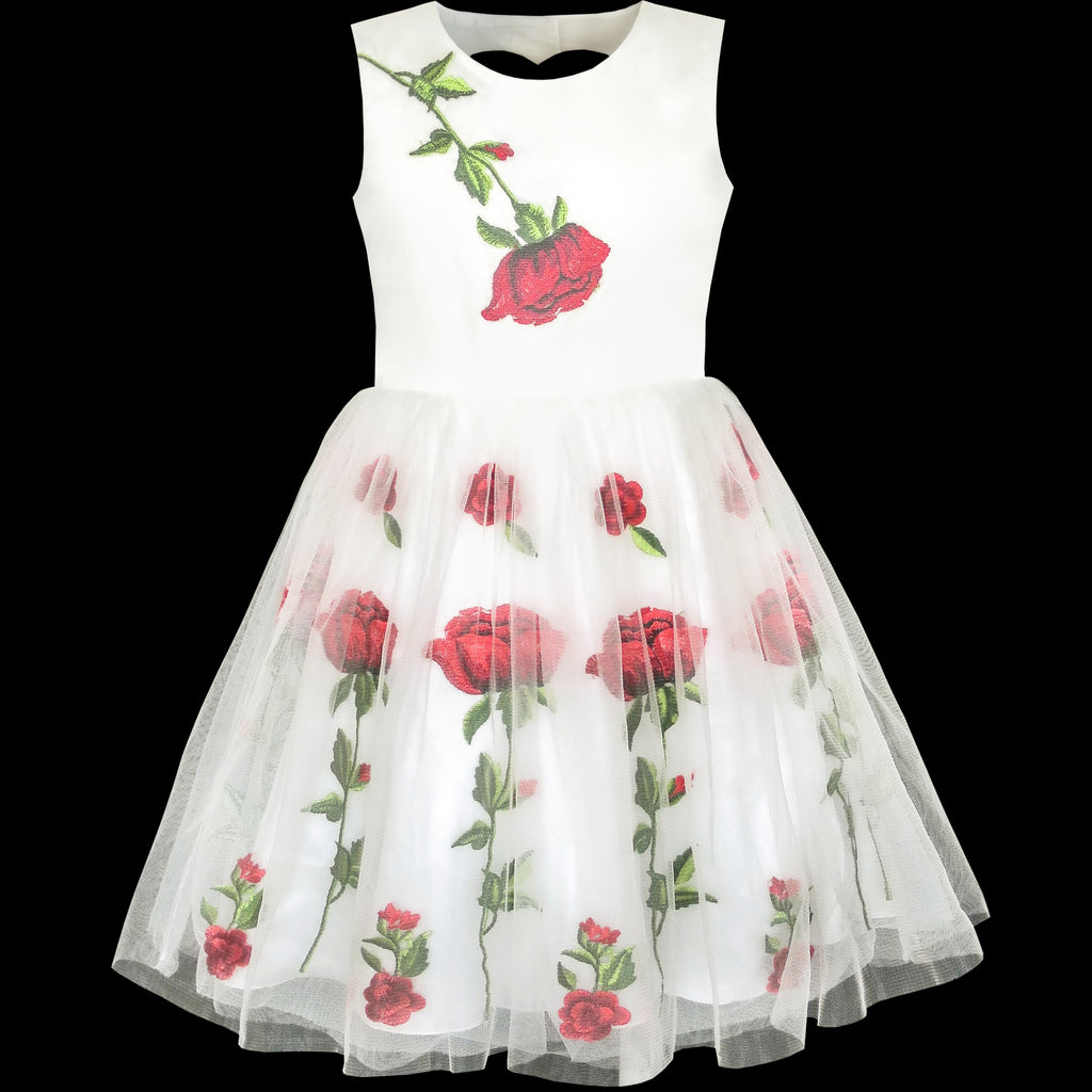 15 Floral Embroidered Bridal Dresses For A Summer Wedding: Girls Dress White Rose Flower Embroidery Heart Shape Back