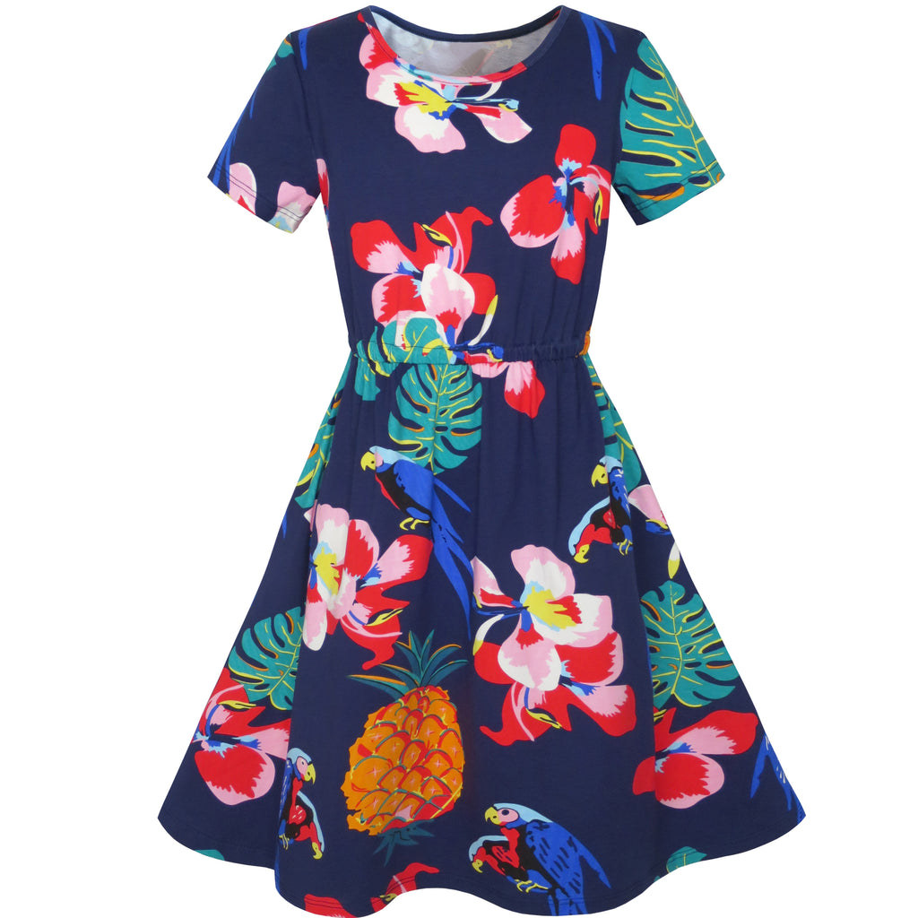 Girls Dress Pineapple Leaf Flower Parrot Print Tropical Size 4-8 Years