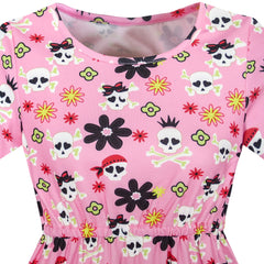 Girls Dress Halloween Skull Print Costume Dress Size 4-10 Years