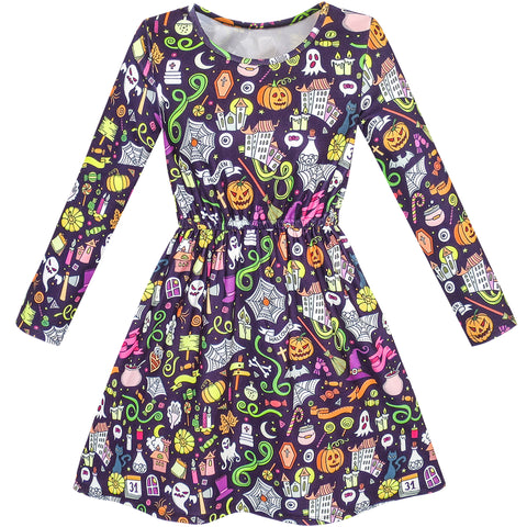 Girls Dress Halloween Pumpkin Lantern Ghost Costume Dress Size 4-10 Years