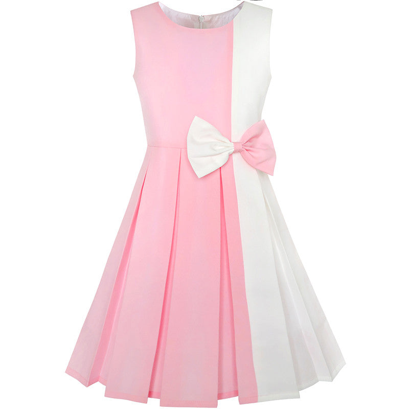 Girls Dress Color Block Contrast Bow Tie Pink White Party Size 4-14 Years