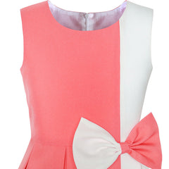 Girls Dress Color Block Contrast Bow Tie Coral White Party Size 4-14 Years