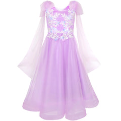Flower Girls Dress Purple Sleeveless Mantillas Wedding Bridesmaid Size 7-14 Years