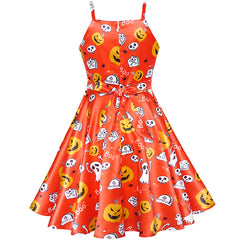 Girls Dress Halloween Pumpkin Ghost Costume Tank Dress Size 4-10 Years