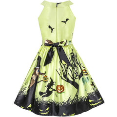 Girls Dress Halloween Witch Bat Pumpkin Costume Halter Dress Size 7-14 Years