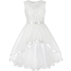 Flower Girls Dress Off White Belted Wedding Party Bridesmaid Size 4-12 Years