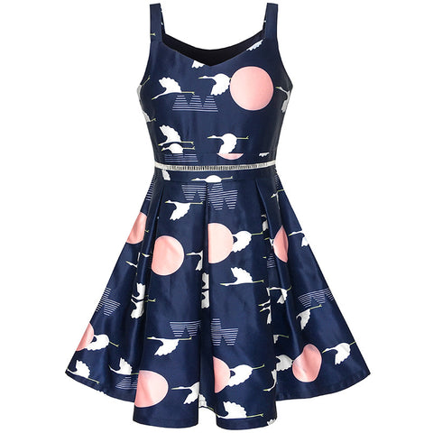Girls Dress Navy Blue School Tank Dress Pleated Hem Size 5-12 Years