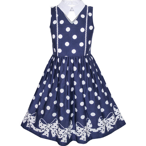 Girls Dress Blue White Polka Dot Bow Tie Collar School Size 6-14 Years