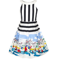 Girls Dress Ocean Sailboat Print Striped Halter Dress Size 6-14 Years