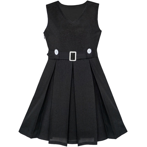 Girls Dress Black Button Back School Pleated Hem Size 6-14 Years