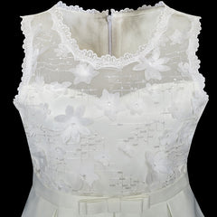 Flower Girls Dress Off White Lace Pleated Hem Wedding Pageant Size 5-12 Years