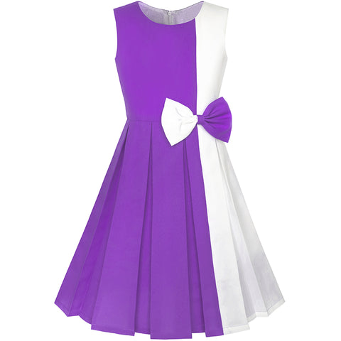 Girls Dress Color Block Contrast Bow Tie Purple White Party Size 4-14 Years
